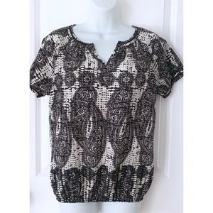 Banana Republic Black Paisley Print Short Sleeve